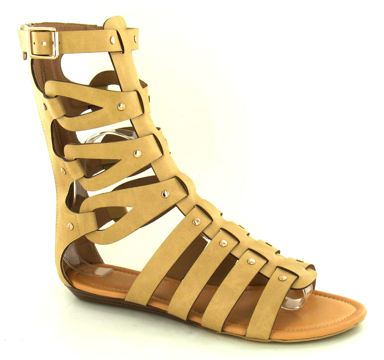 Womens Mid Calf Cut Out Flat Gladiator Sandals Ladies Summer Shoes ... e62a1884d0