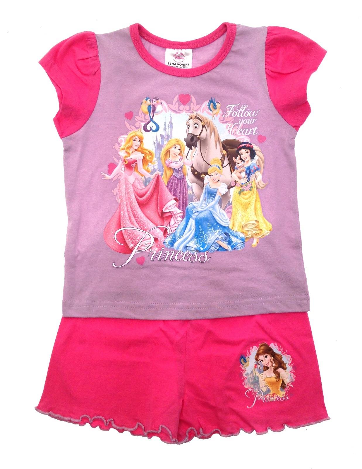 daf561aa0f Kids Girls Official Disney Princess Short Pyjamas Character Pjs Set ...