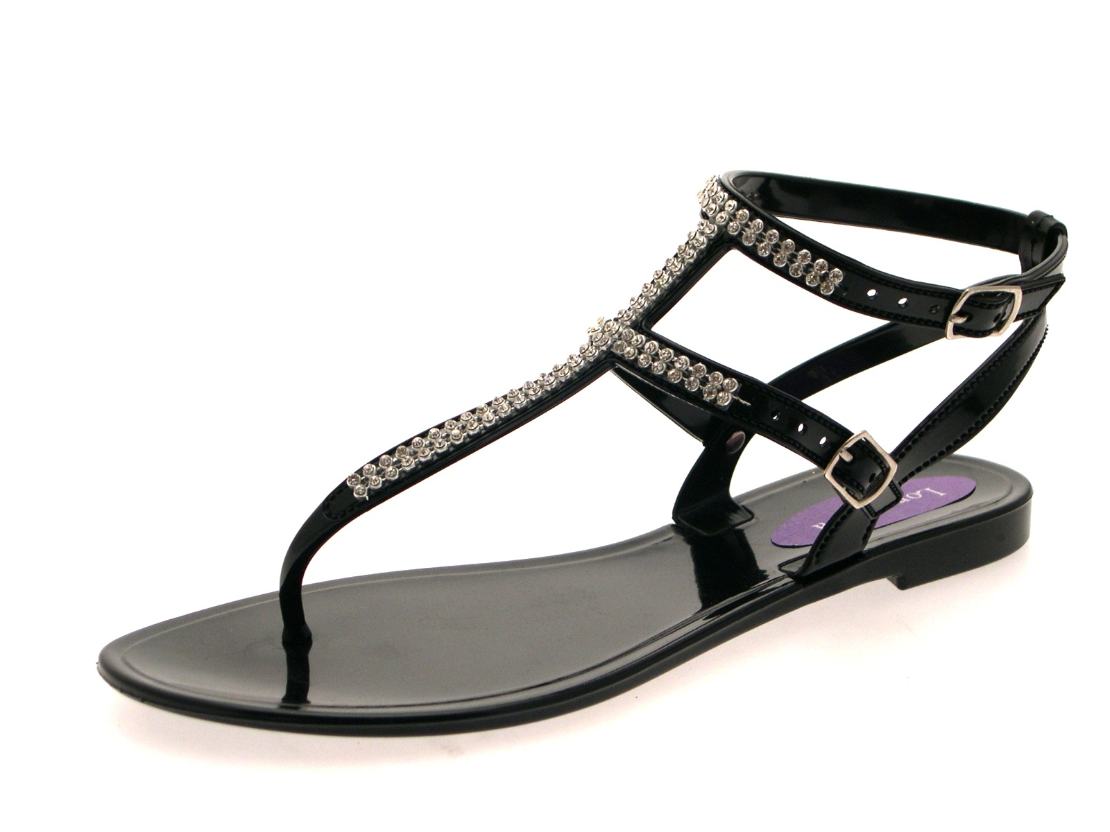 Womens Diamante Sandals Summer Flat Jelly Shoes Double ...
