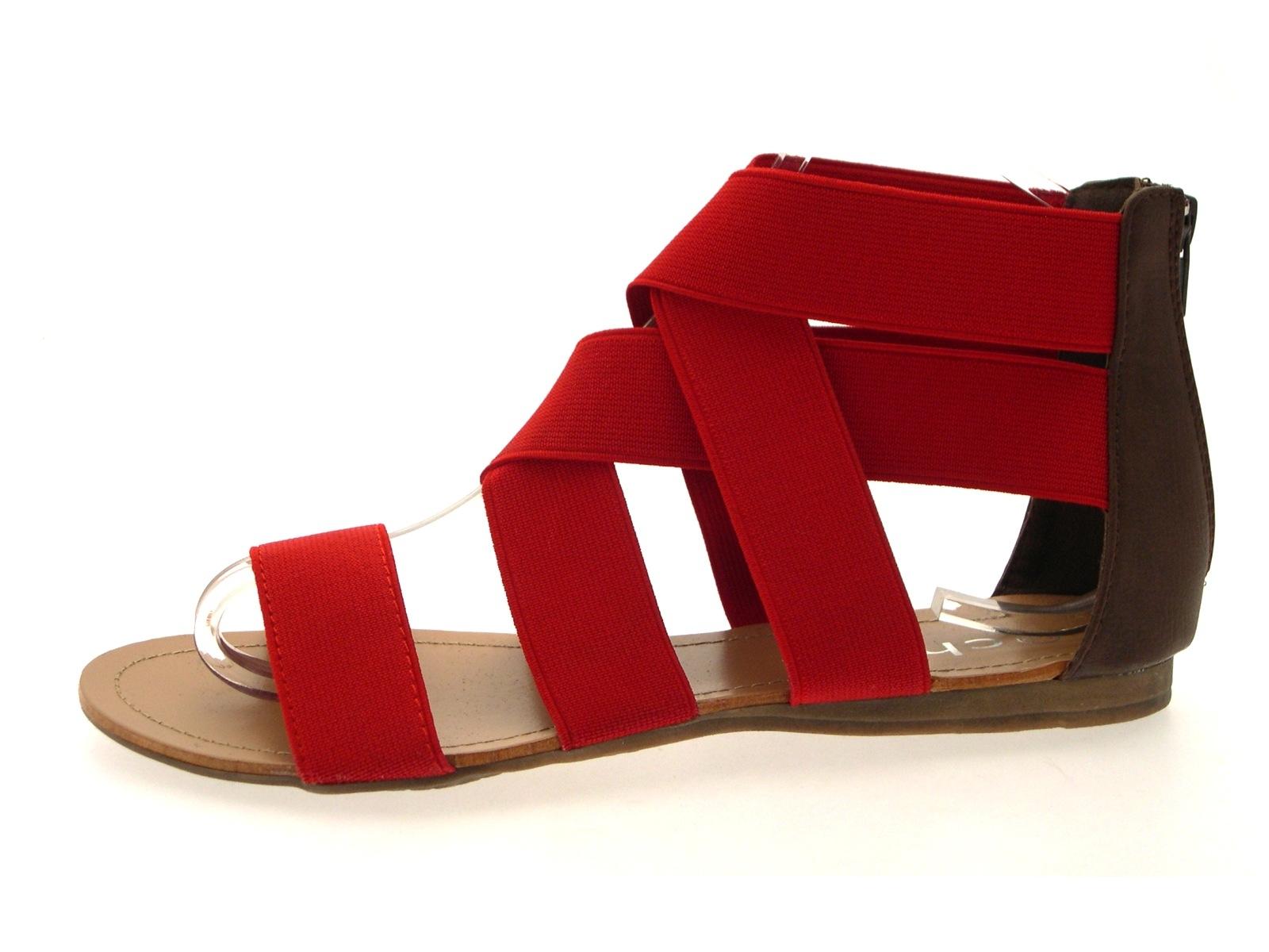 Womens Elastic Strap Gladiator Summer Sandals Ladies Flat Shoes Size UK 3 - 8