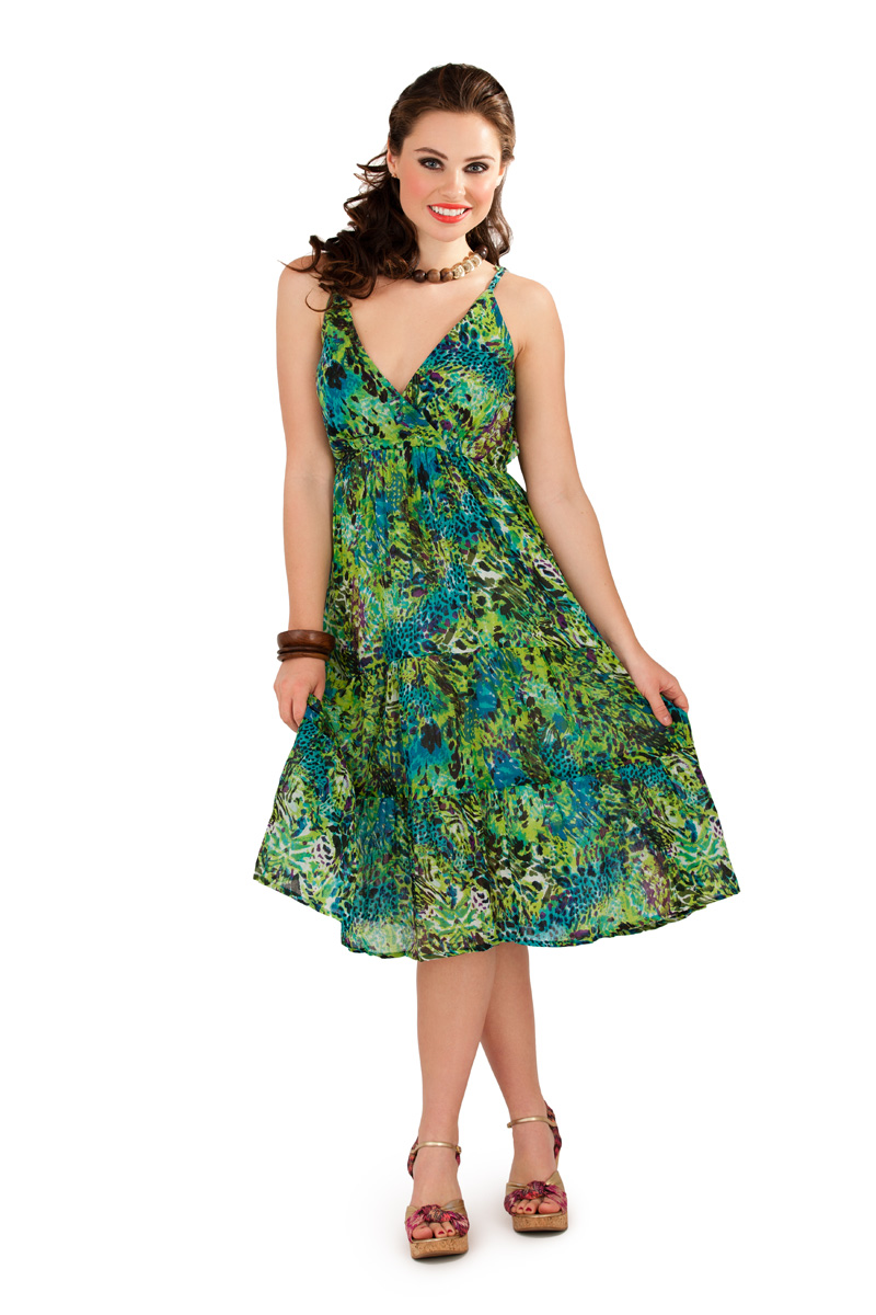 Womens 100% Cotton V Neck Mid Length Tropical Summer Dress ...
