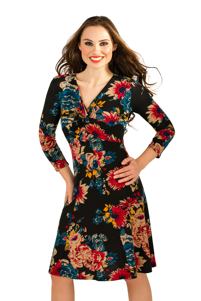 Womens Floral Stretch Dress Knee Mid Length Summer ...