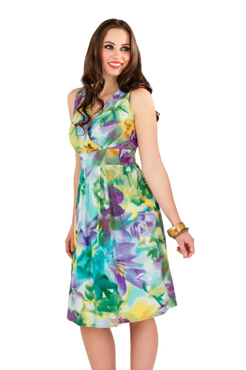 Womens 100% Cotton Summer Dress Floral Mid Knee Length ...