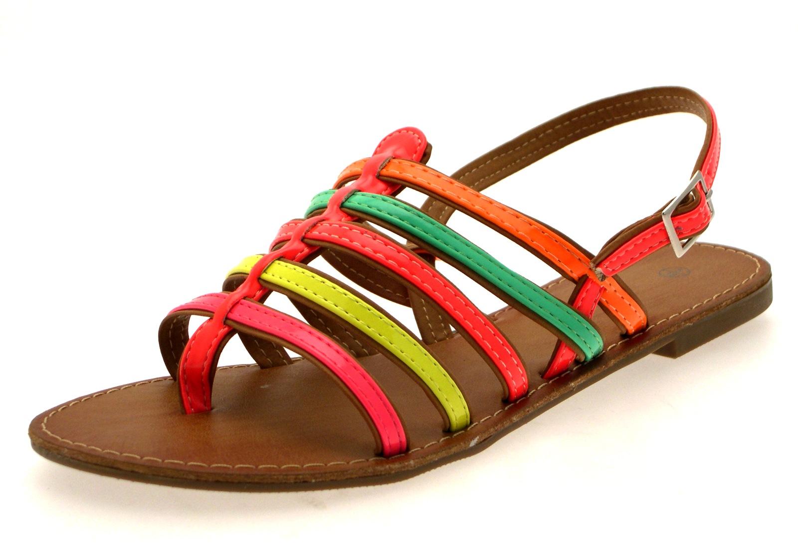 Womens Fluorescent Summer Sandals Neon Flip Flops ...