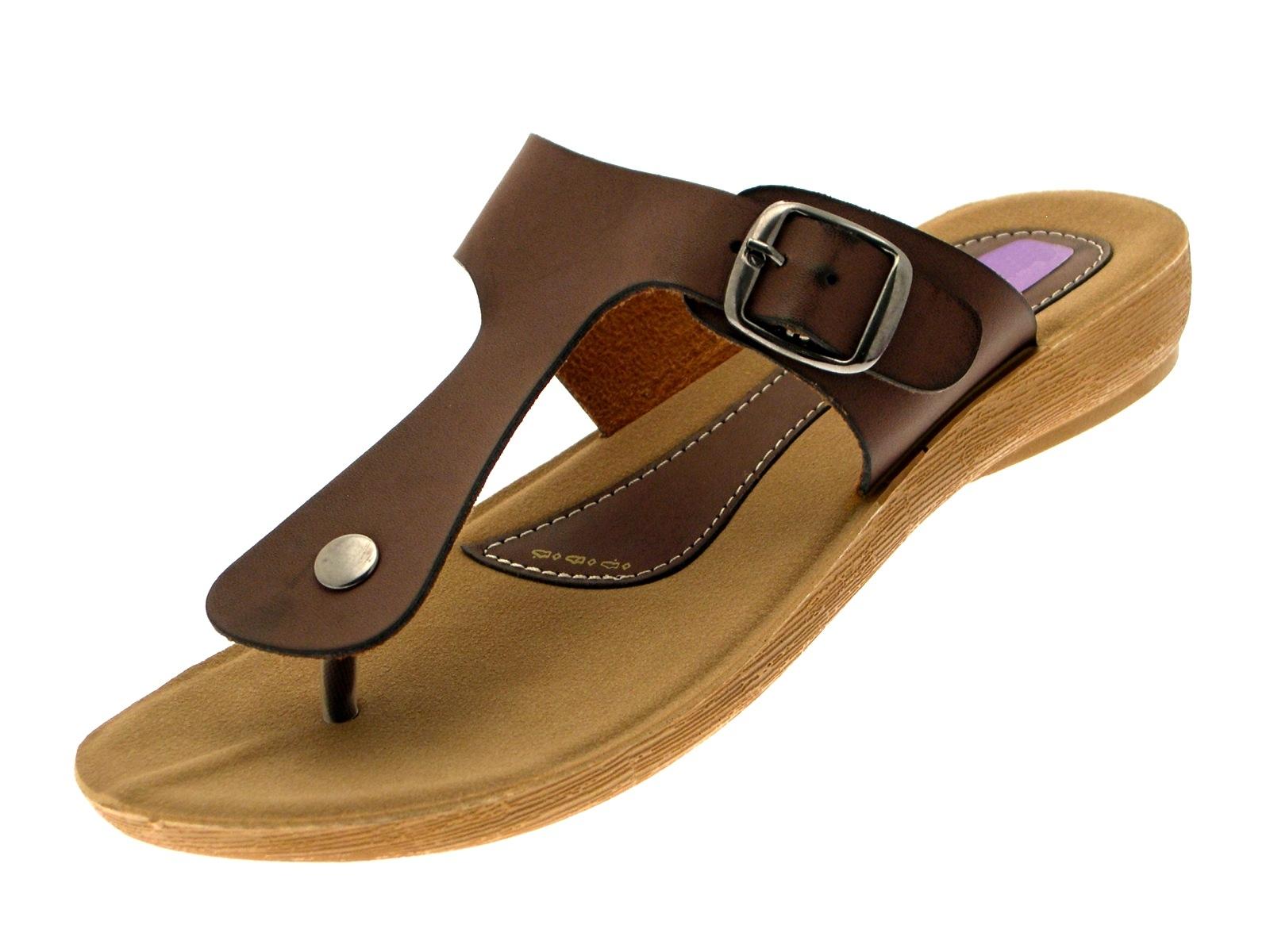 868a409da86 Womens Toe Posts Flip Flops Low Wedges Mules Summer Sandals Ladies ...