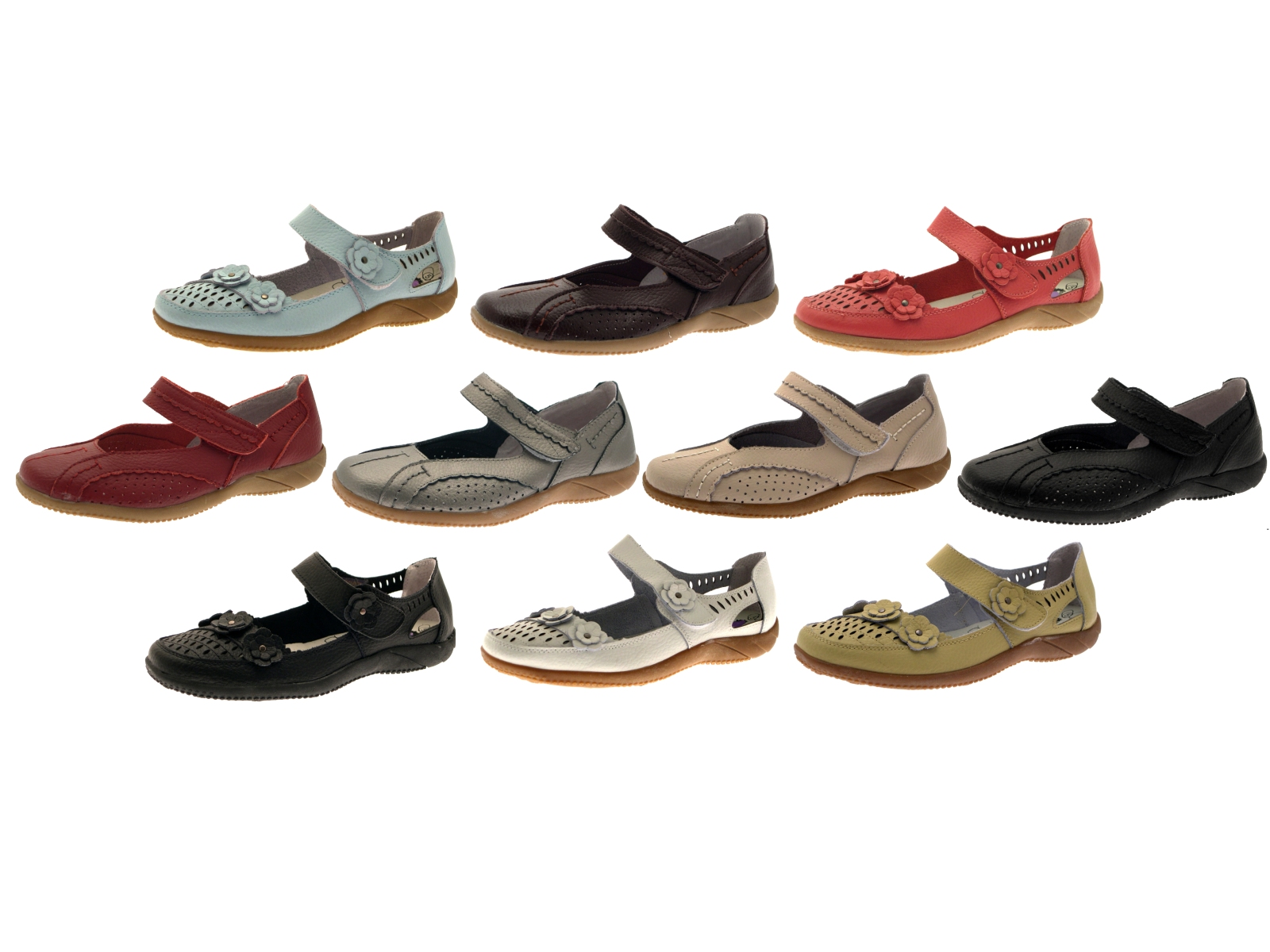 womens leather casual comfort flat velcro shoes
