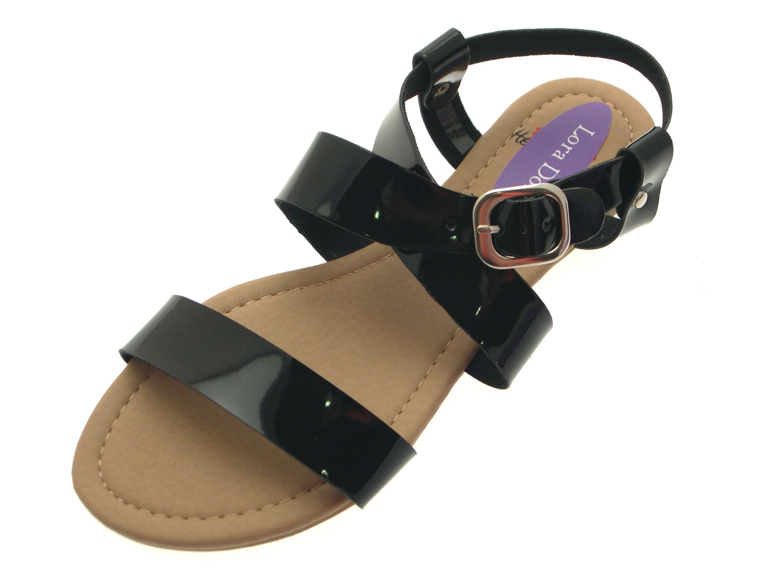 Black patent sandals uk - Womens Patent Flat Strappy Sandals Ladies Summer Buckle Open Shoes Size Uk 3 8