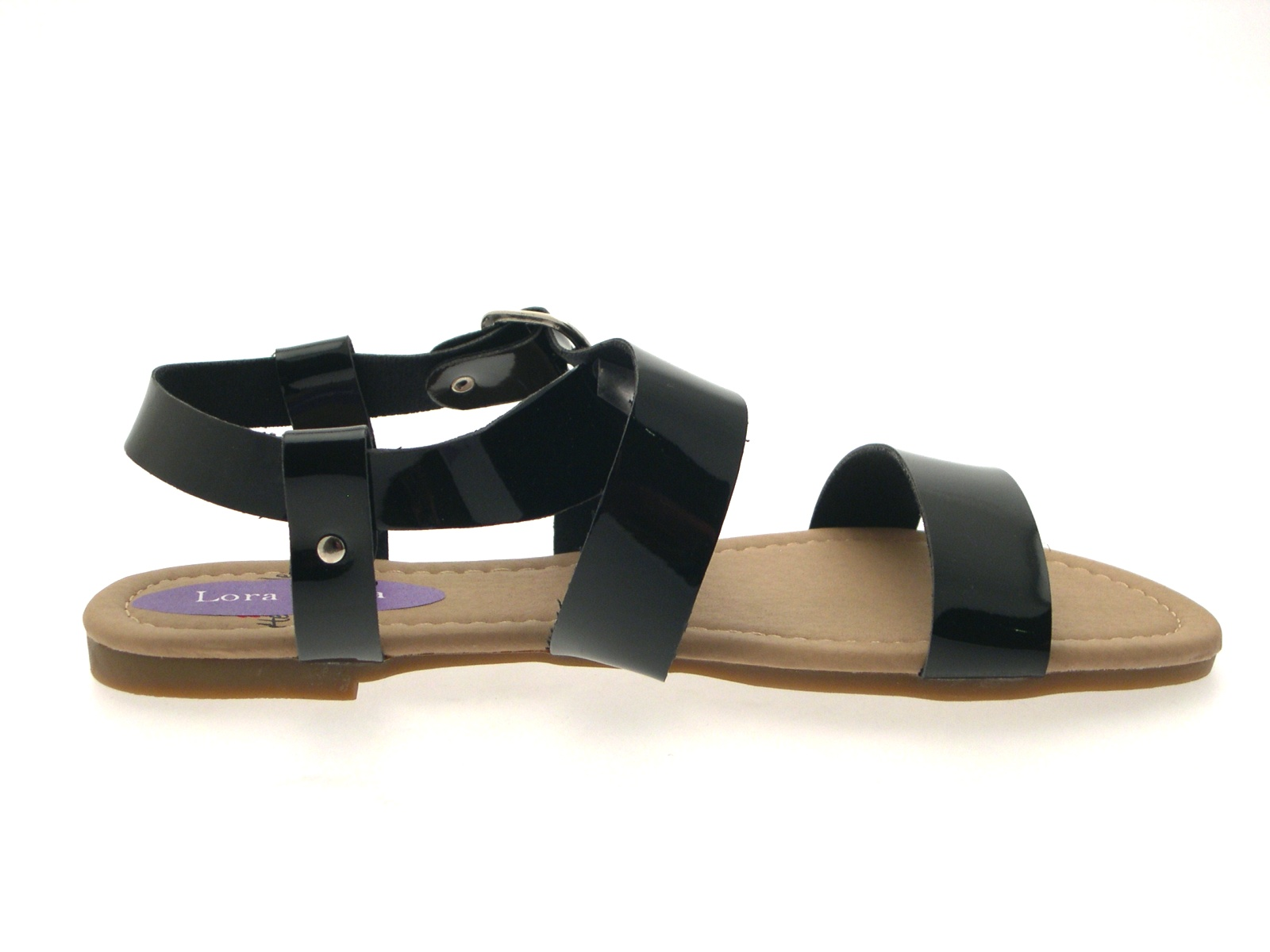 Womens-Patent-Flat-Strappy-Sandals-Ladies-Summer-Buckle-Open-Shoes-Size-UK-3-8