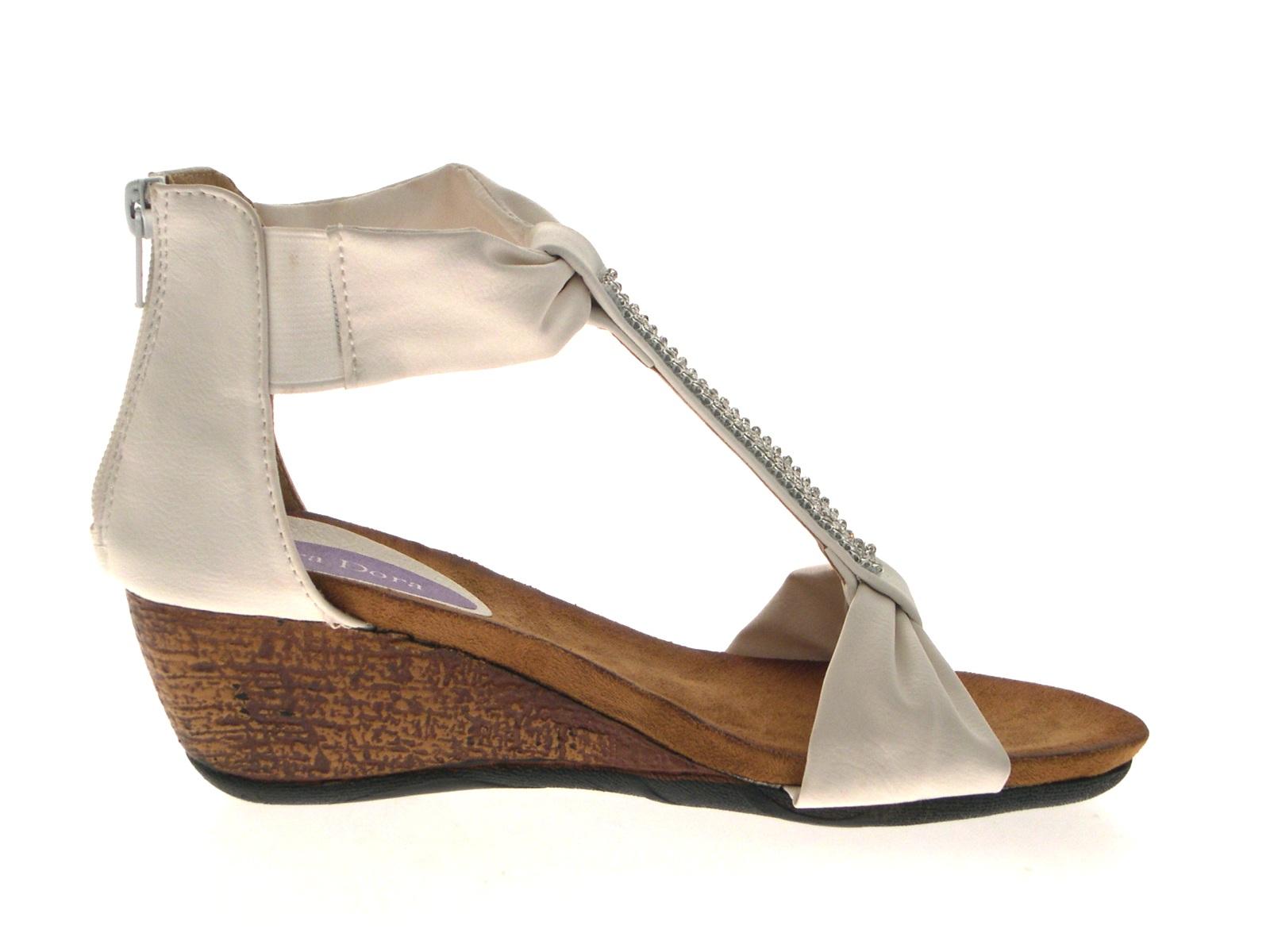 womens diamante t bar summer sandals low wedges heels