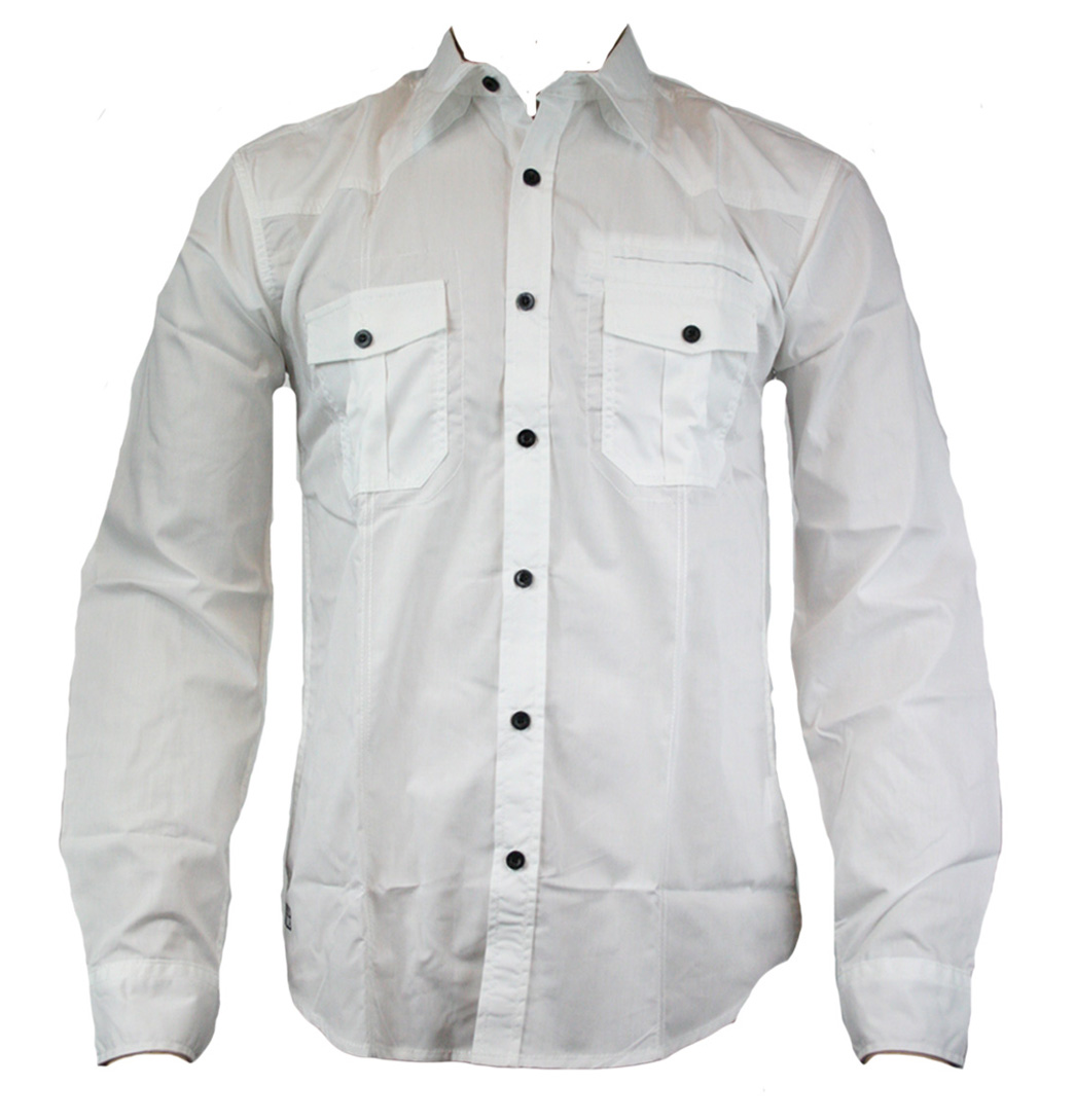 Jack Jones Marlone Designer Mens Longsleeve Shirt AW11 White Enlarged Preview