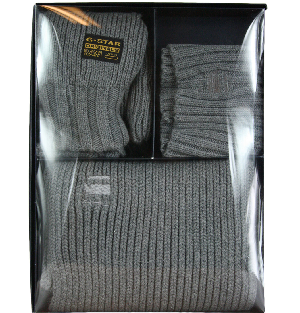 G Star Raw 89986 Mens Beanie/Gloves/Scarf Gift Set AW11 Grey Heather One Size Enlarged Preview