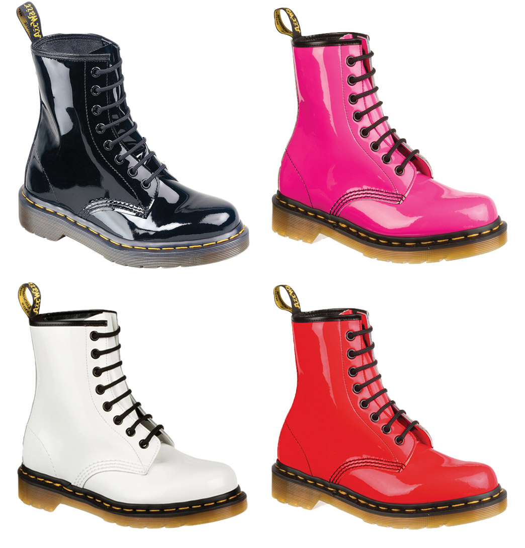 Dr Martens 1460W Womens Boots Patent Lamper Black, White, Red OR Pink  Enlarged Preview