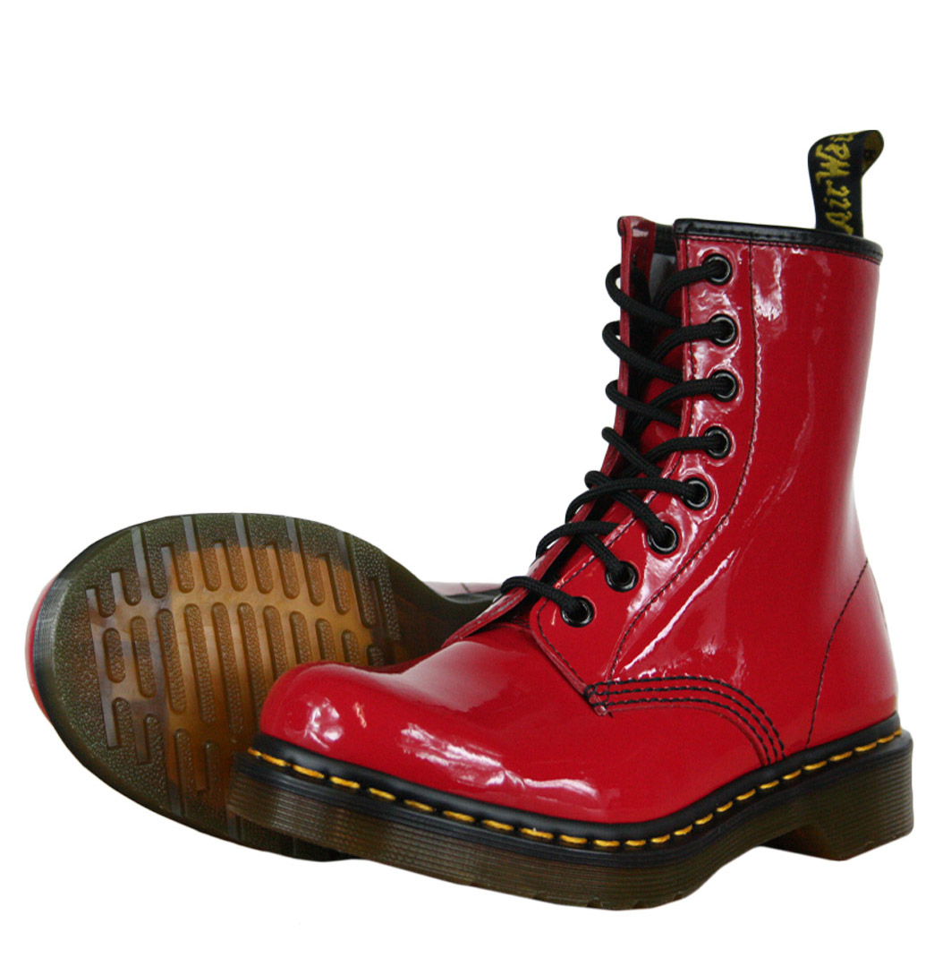 Dr-Martens-1460W-Womens-Boots-Patent-Lamper-Black-White-Red-OR-Pink