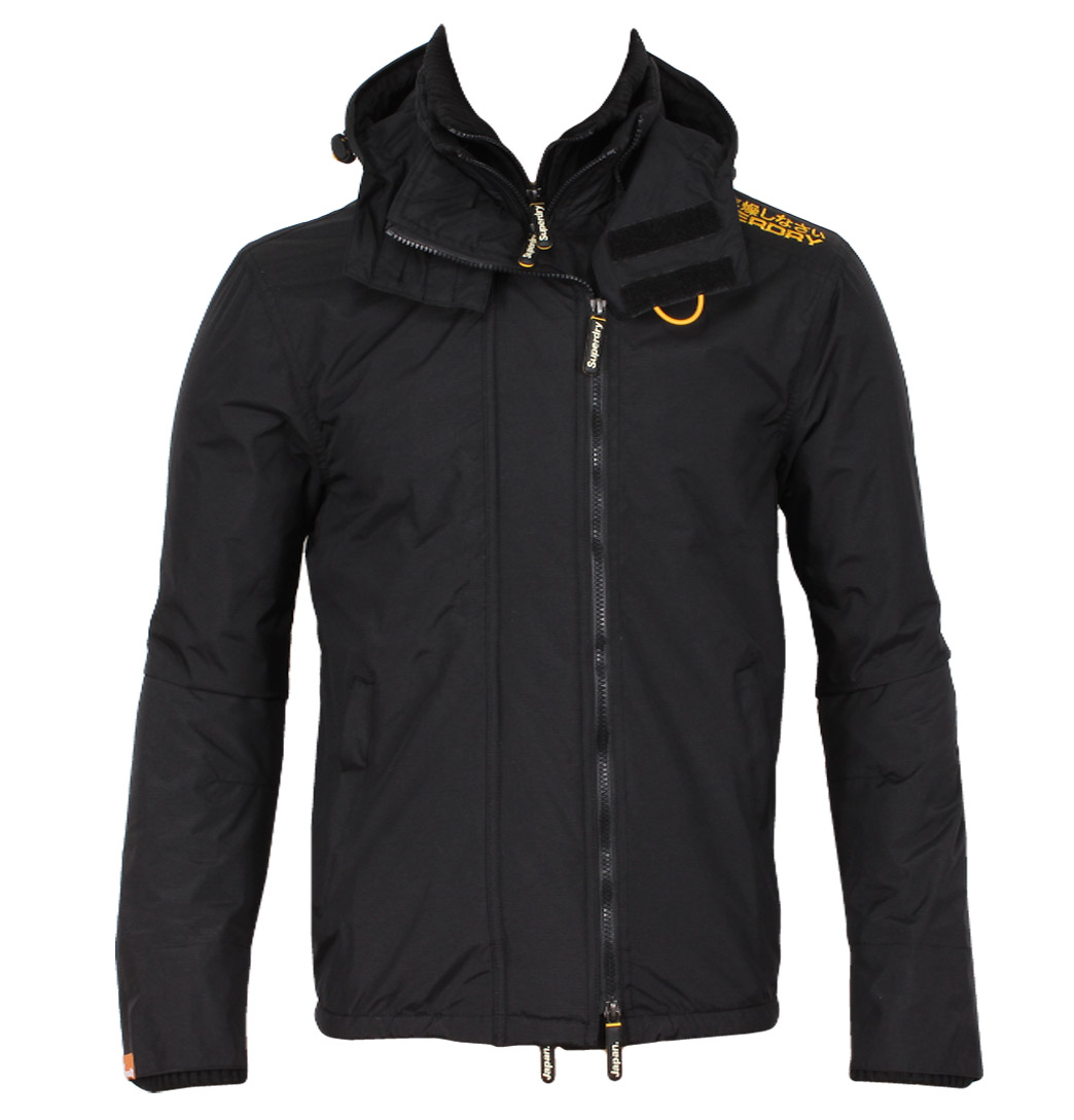 Superdry MS5HZ065 Hooded Polar Windcheater Mens Jacket Black/Marigold Enlarged Preview