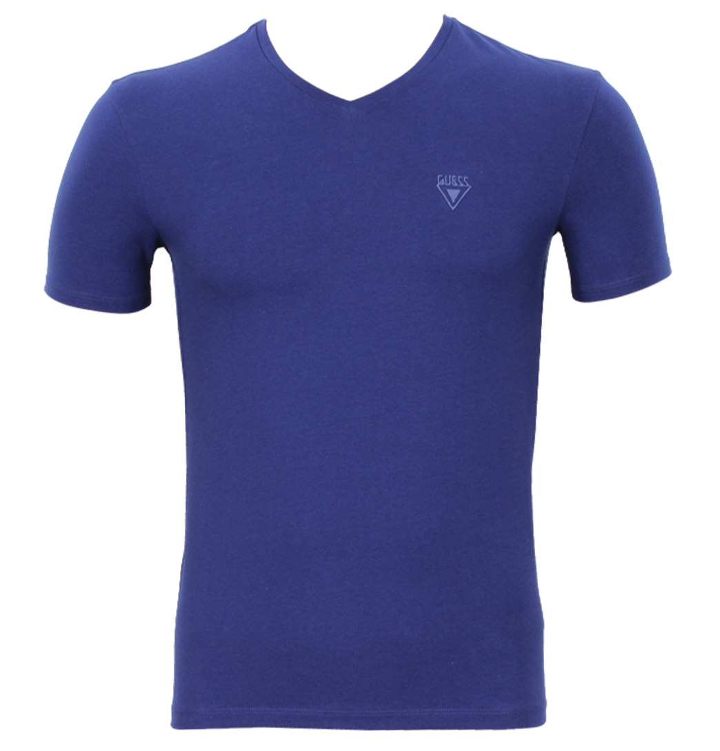 Guess Logo Mens V-Neck T-Shirt Blue Enlarged Preview