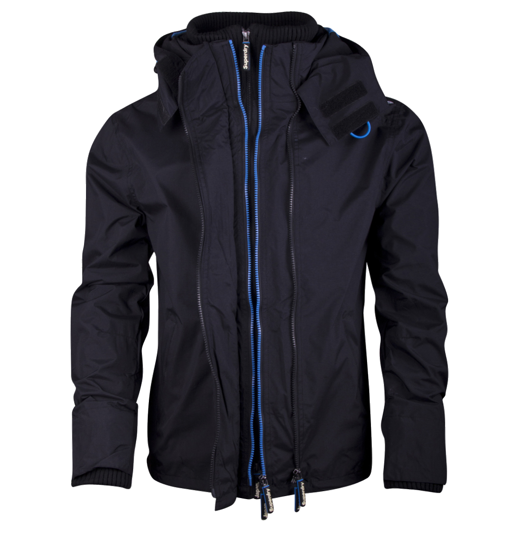 Superdry MS5IZ039F2 Hooded Technical Mens Windcheater Black/Denby Blue Enlarged Preview