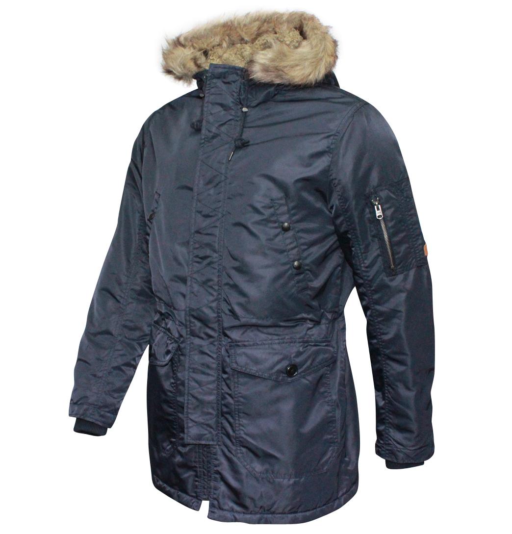 about jack jones union mens designer hooded parka jacket dark navy. Black Bedroom Furniture Sets. Home Design Ideas
