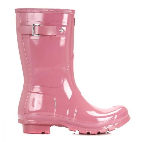 Hunter Womens Original Gloss Short Womens Hunter Rhodonite Pink Wellies 690998