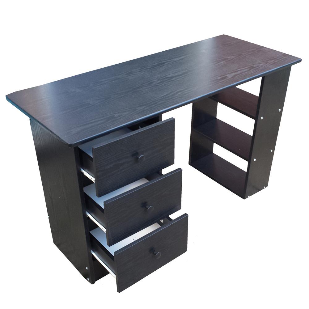 Redstone Computer Desk 3 Drawer Black White Beech Dk