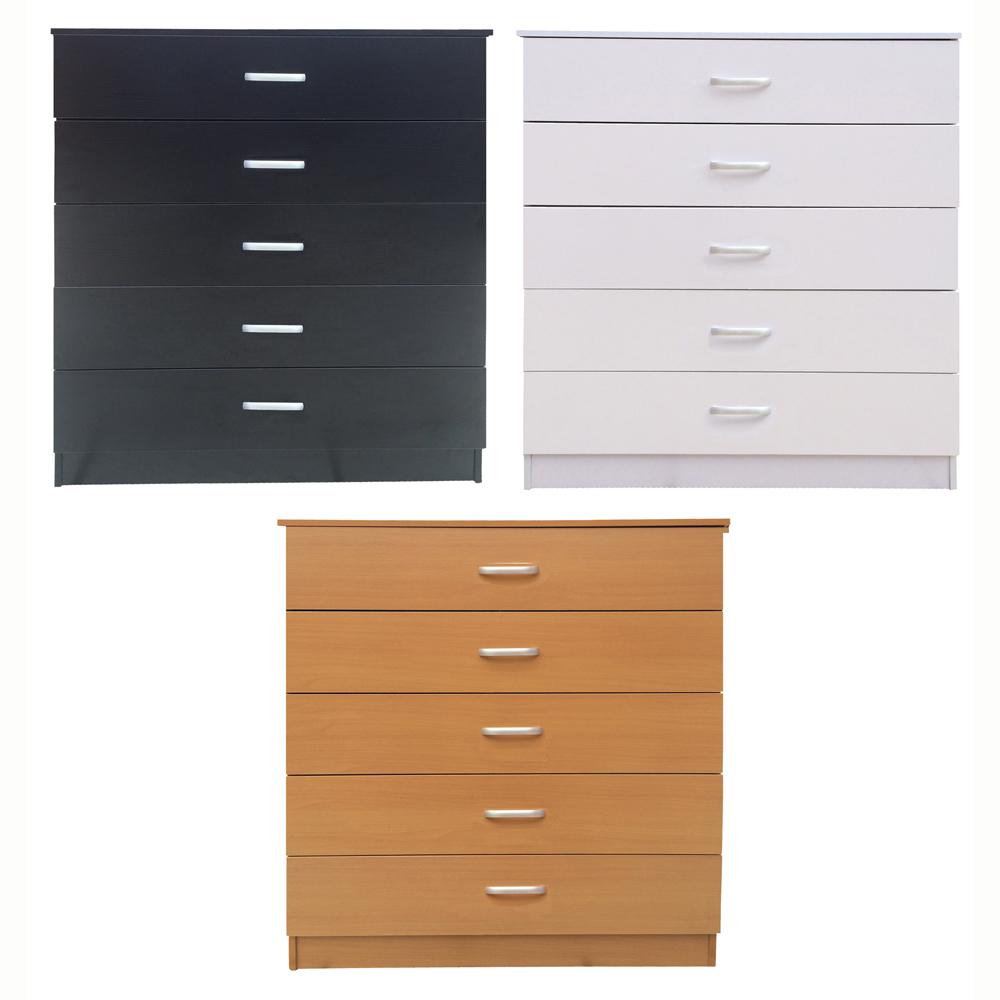 Kommoden - 5 Schubladen - Schwarz Buche Weiß - Schlafzimmer Büro ...