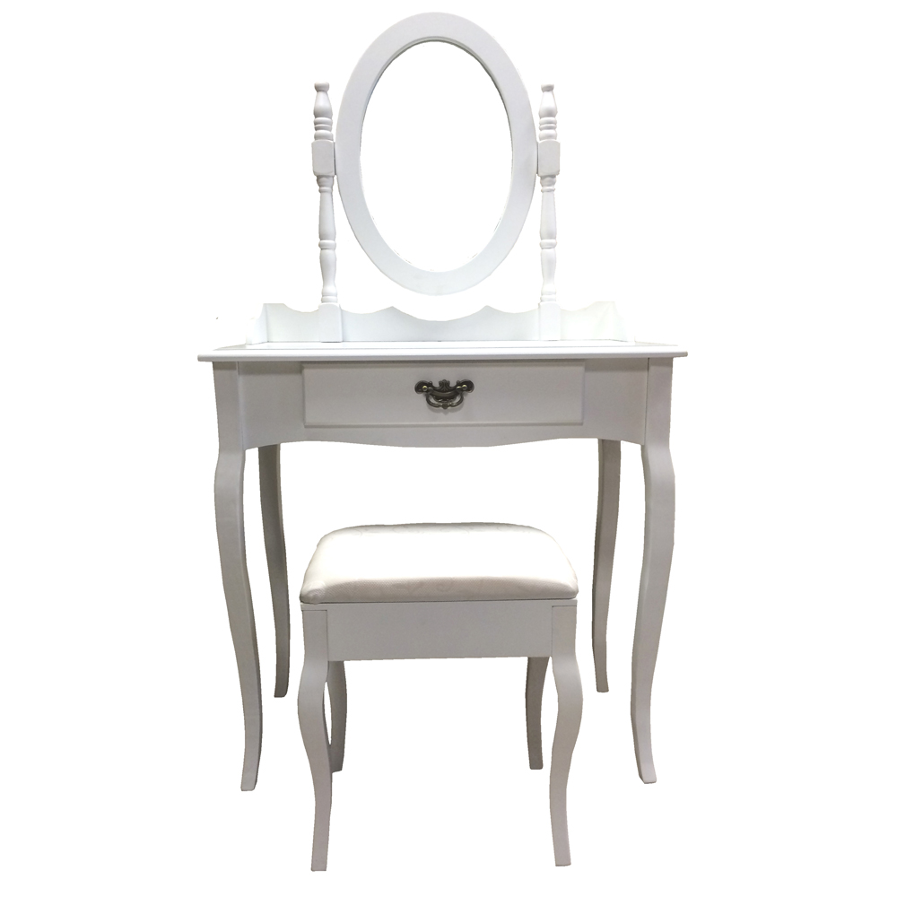 White dressing table and stool xl drawer with make up for Made dressing table