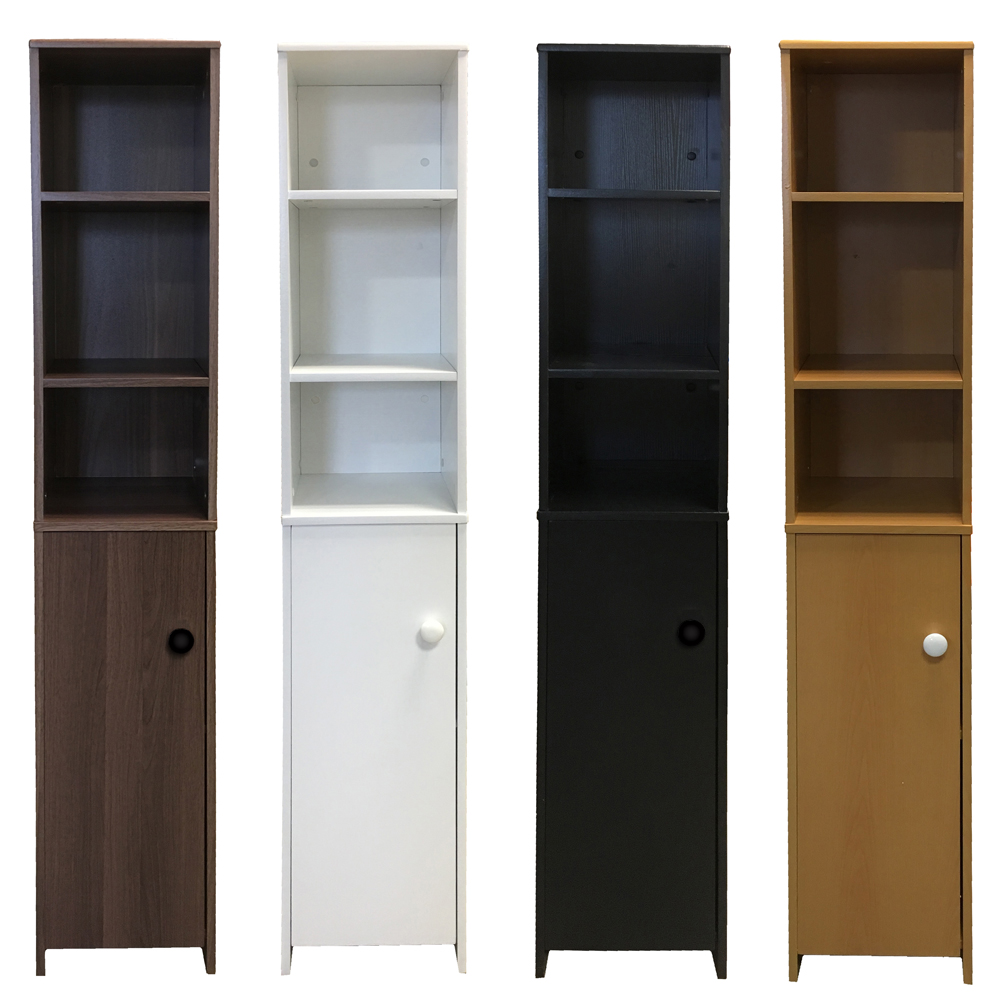 Tall Shelving Unit Cupboard Bathroom Cabinet Wooden White Black Beech Dk Waln