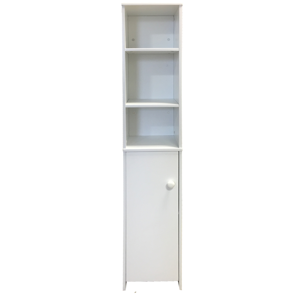 Tall bathroom cabinet cupboard bedroom storage unit white - White tall bathroom storage unit ...