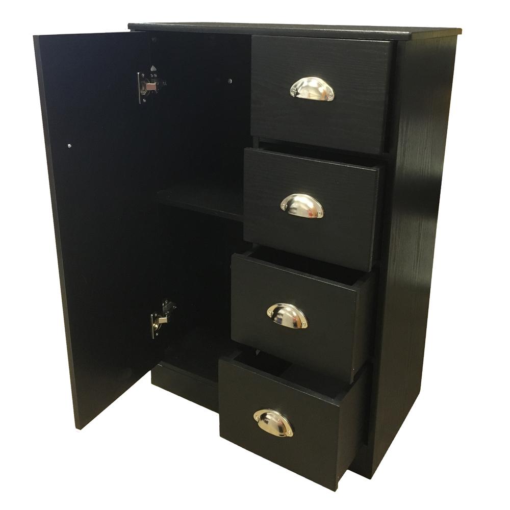 Bathroom cabinet chest of drawers cupboard sideboard for Black bathroom drawers