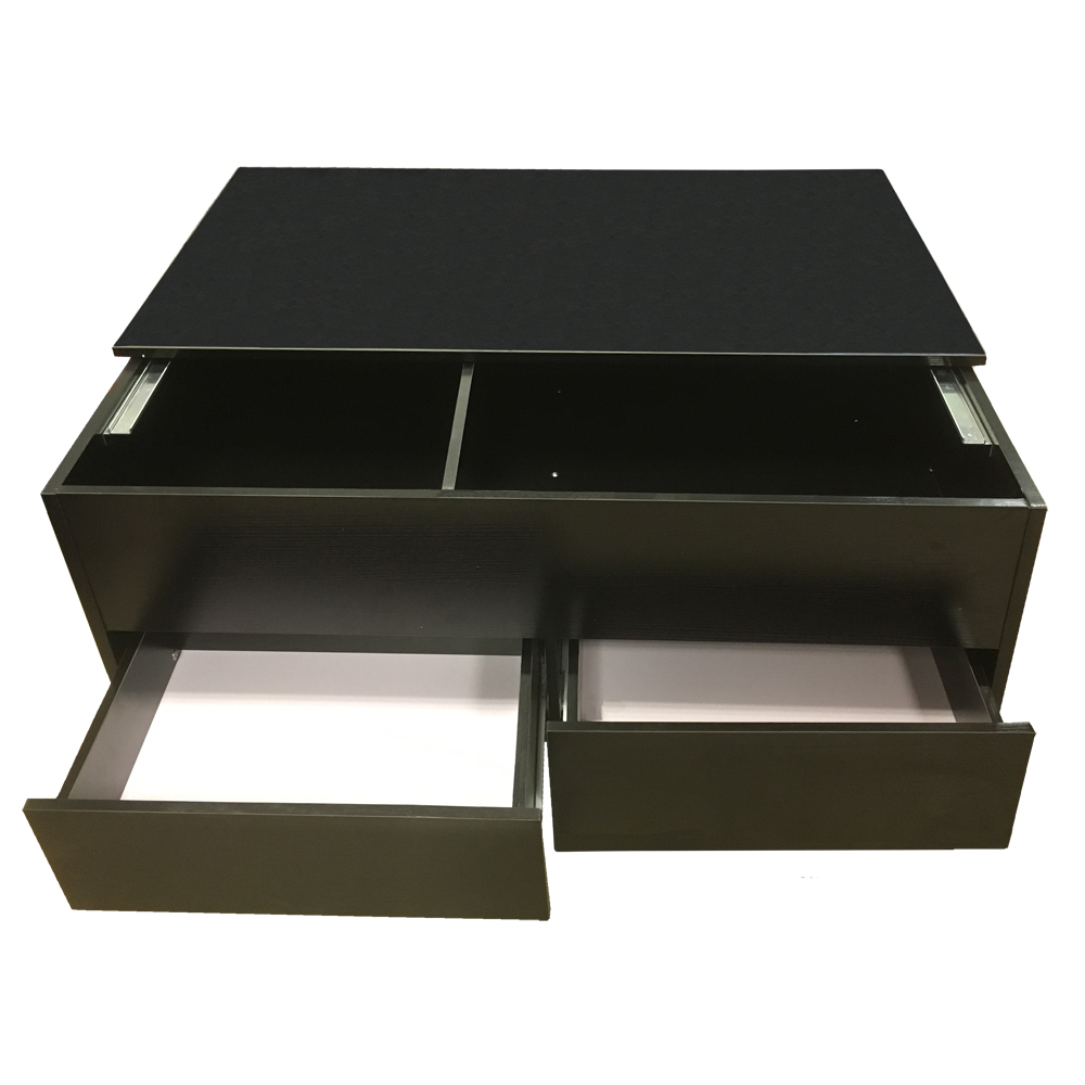 Black Coffee Table With Storage Uk: Coffee Table Slide Top With Storage + 2 Drawers Ottoman