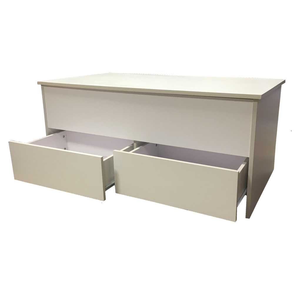 Coffee Table With Storage 2 Drawers Ottoman Toy Box Chest White Or Black Ebay