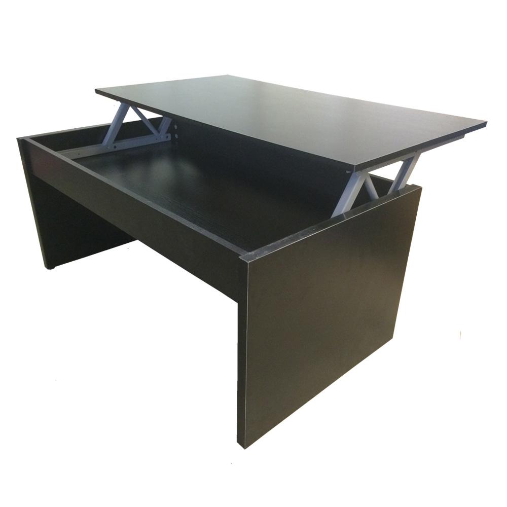 couchtisch schwartz mit h henverstellbarer platte wohnzimmertisch ebay. Black Bedroom Furniture Sets. Home Design Ideas
