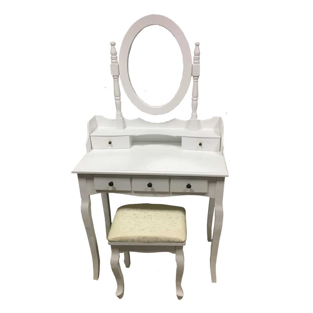 White dressing table 5 drawer set stool adjustable mirror makeup dresser ebay - Stool for vanity table ...