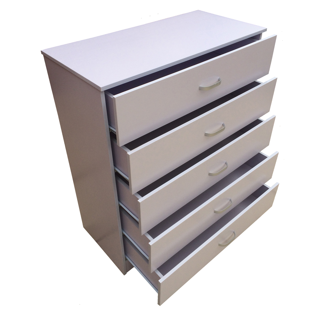 Chest Of Drawers 5 White Anti Bowing Drawer Support Bedroom Redstone Ebay