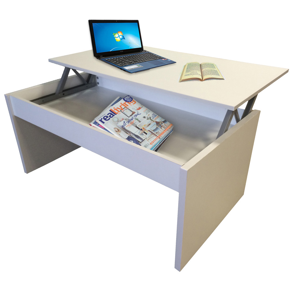 Coffee Table White Lift Up Top with Storage Lounge Living