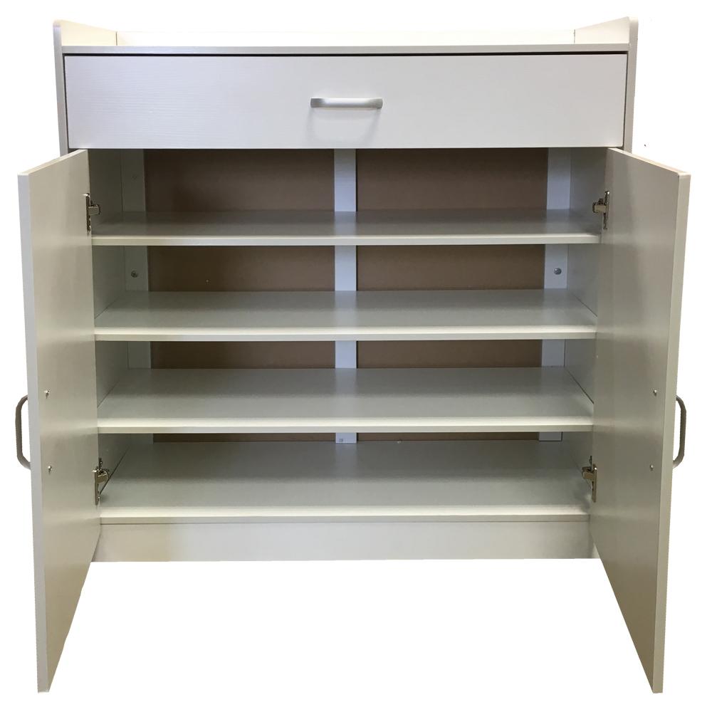 white shoe storage cabinet rack wooden stand sideboard. Black Bedroom Furniture Sets. Home Design Ideas