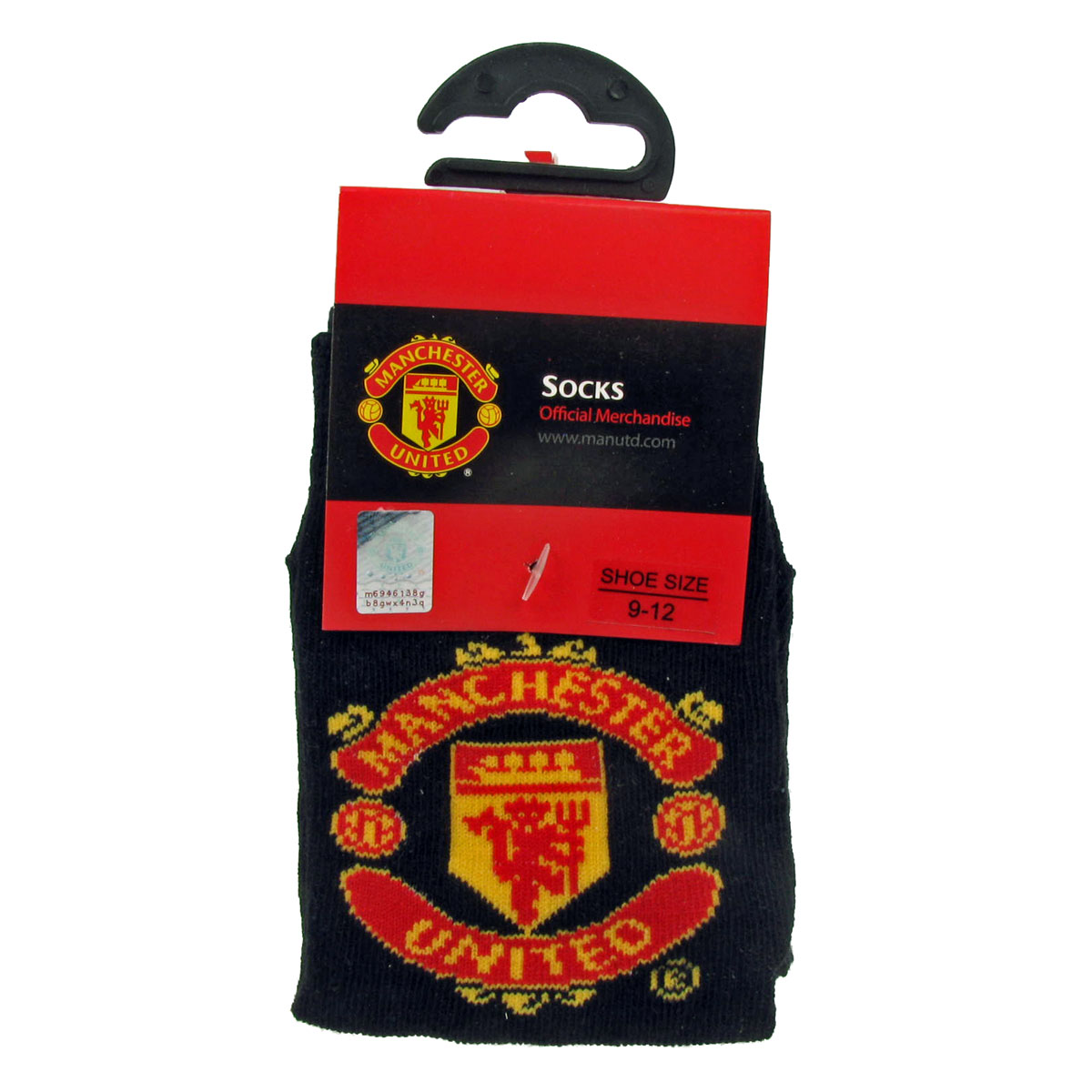 Official Manchester Utd Kids Socks Size 9–12 Black BN Enlarged Preview