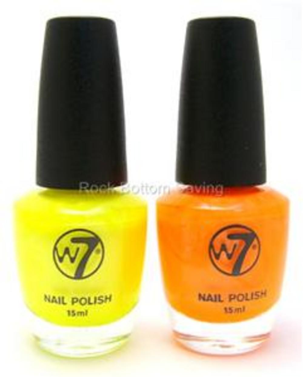 2 X W7 Fluorescent Nail Polish Yellow (16) & Orange(13