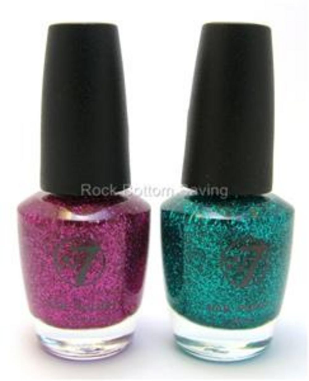 Green Glitter Nail Polish Uk: 2 X W7 Glitter Nail Polish Varnish Pink & Green Dazzle