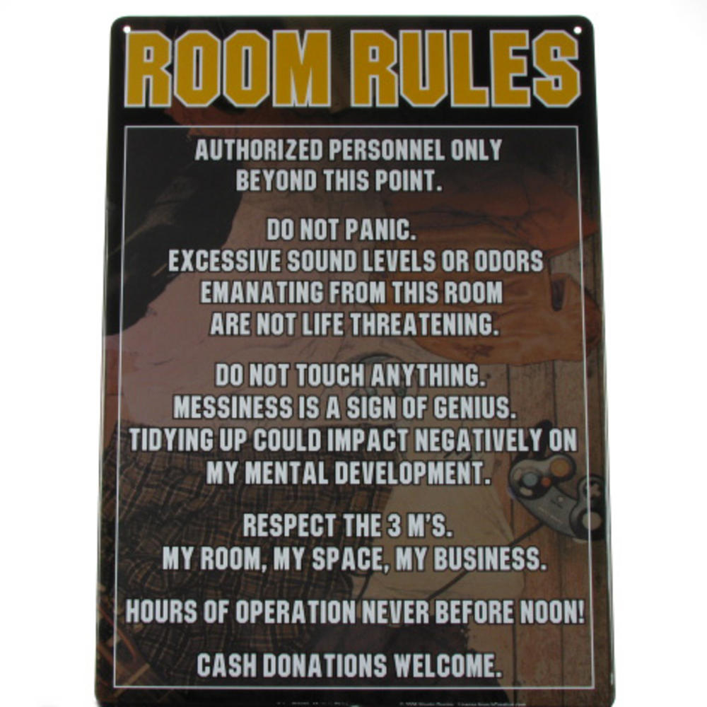 Room rules authorized personnel only boys metal door sign novelty
