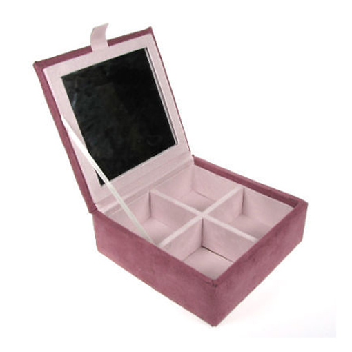 Luna Handcrafted Faux Suede Jewellery Box - Pink Enlarged Preview