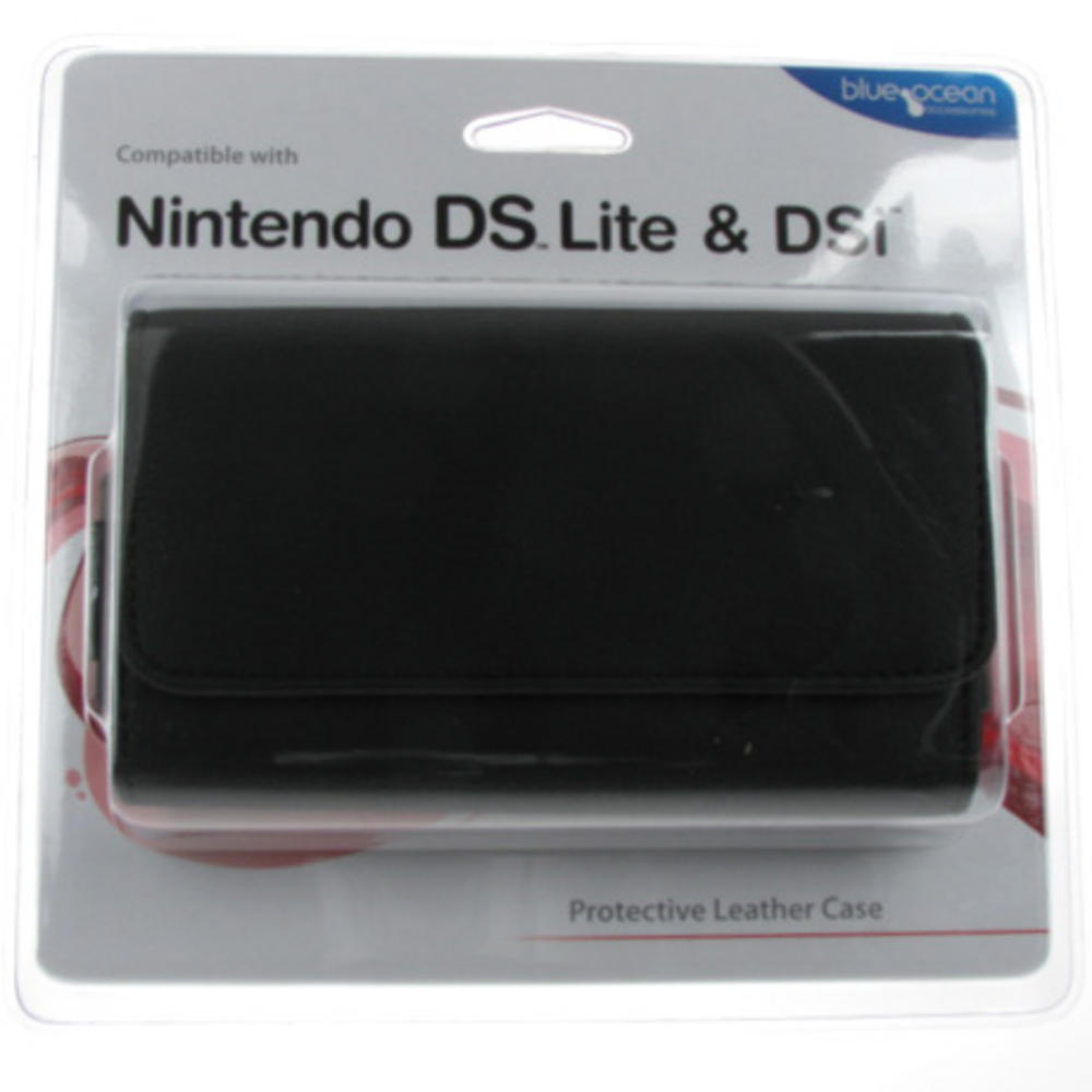 protective leather case for nintendo ds lite dsi black video game accessories black. Black Bedroom Furniture Sets. Home Design Ideas