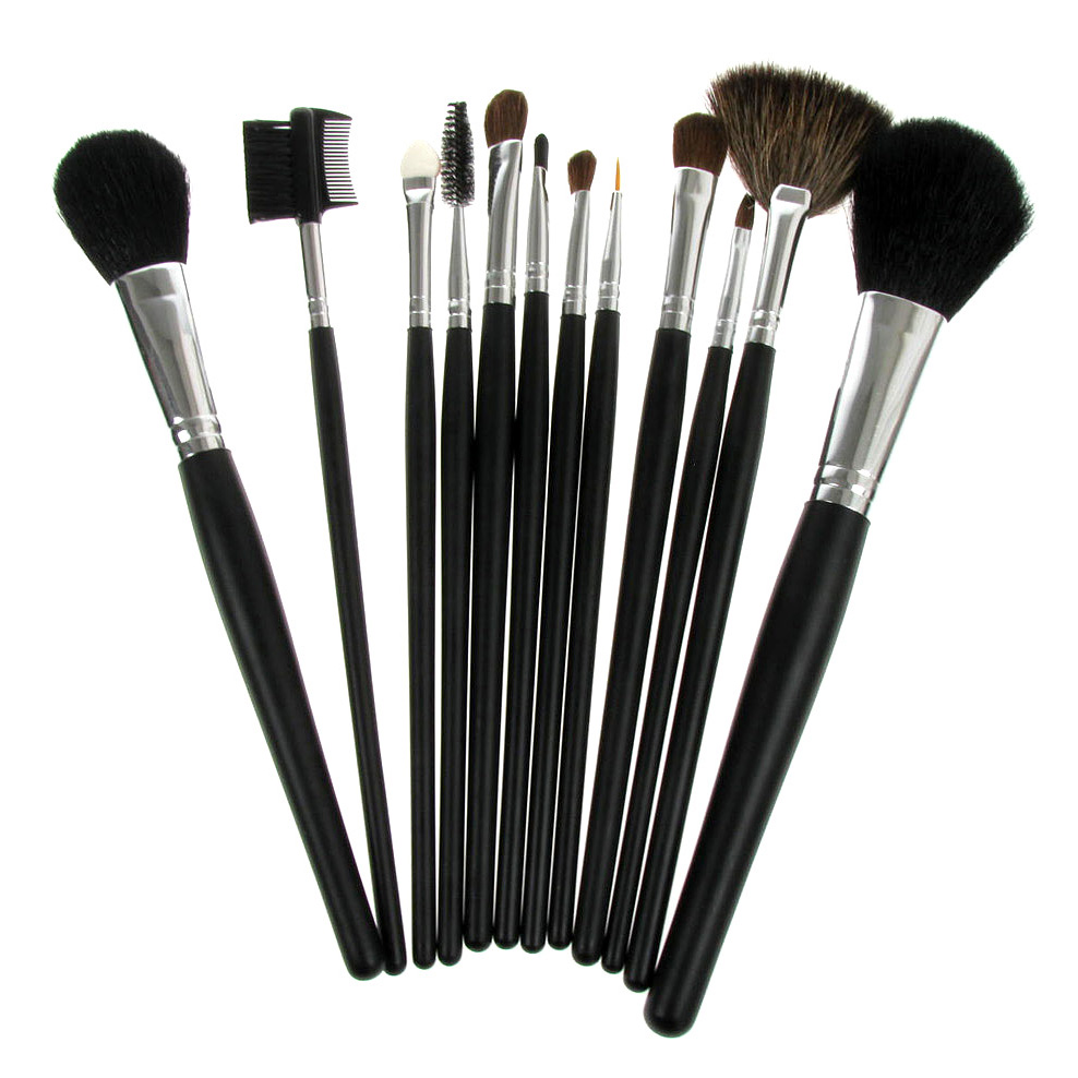 W7 12 Piece Professional Make-Up Brush Set With Black Cosmetic Case ...