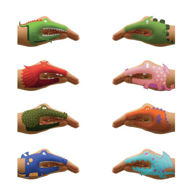 Dragon Hands 8 Temporary Tattoos-Fun Kids Talking Hands Enlarged Preview