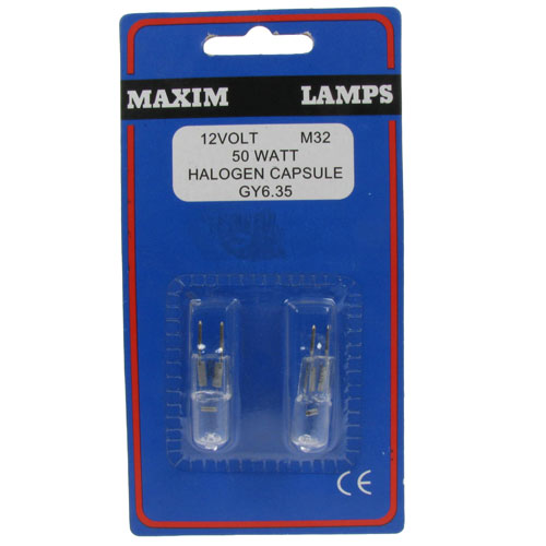 Maxim 2 x 50 Watt 12 Volt Halogen Capsule Lamps - M32 Enlarged Preview