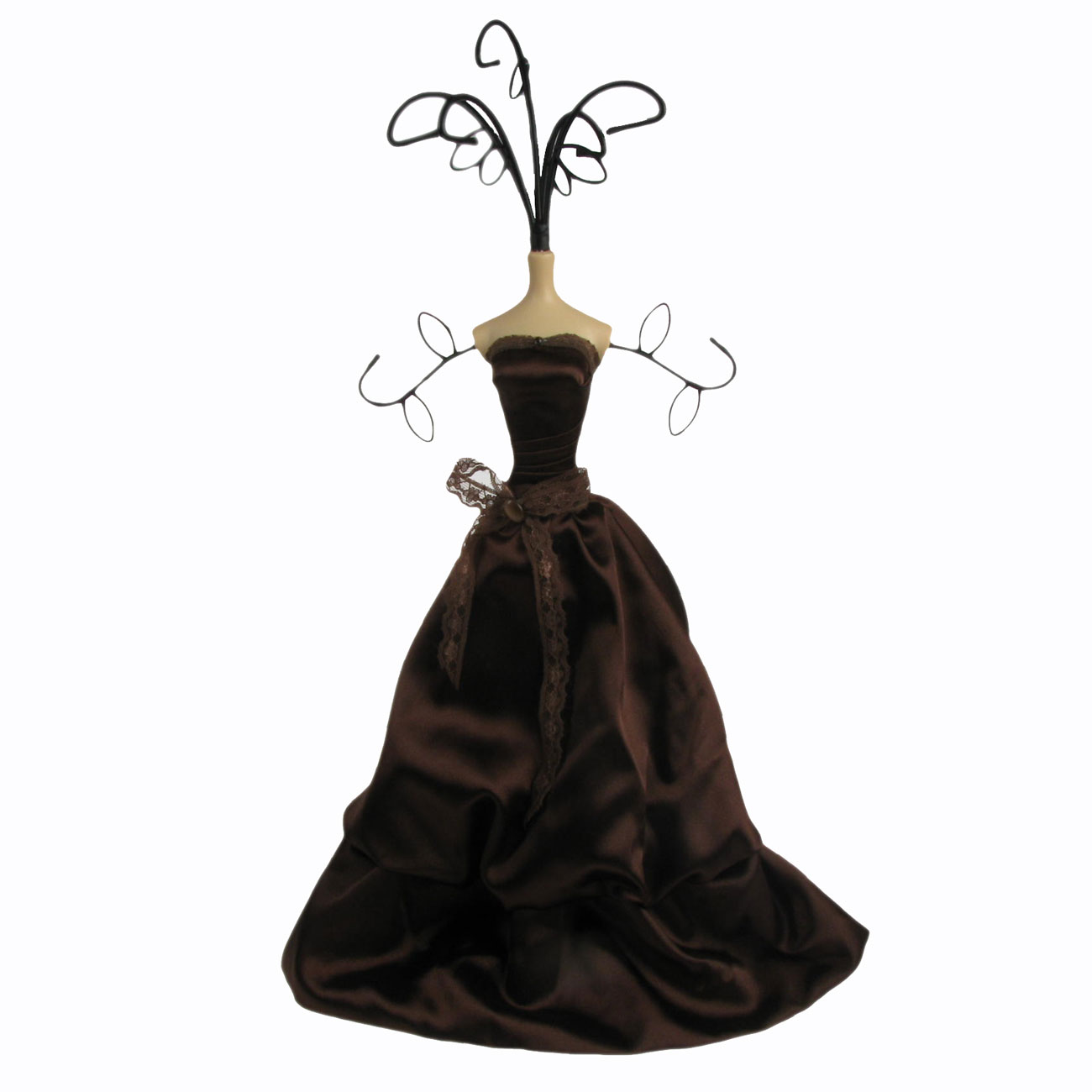 Chic Mannequin Shabby Jewellery Necklace Stand Tree Dark Brown Satin Dress Enlarged Preview