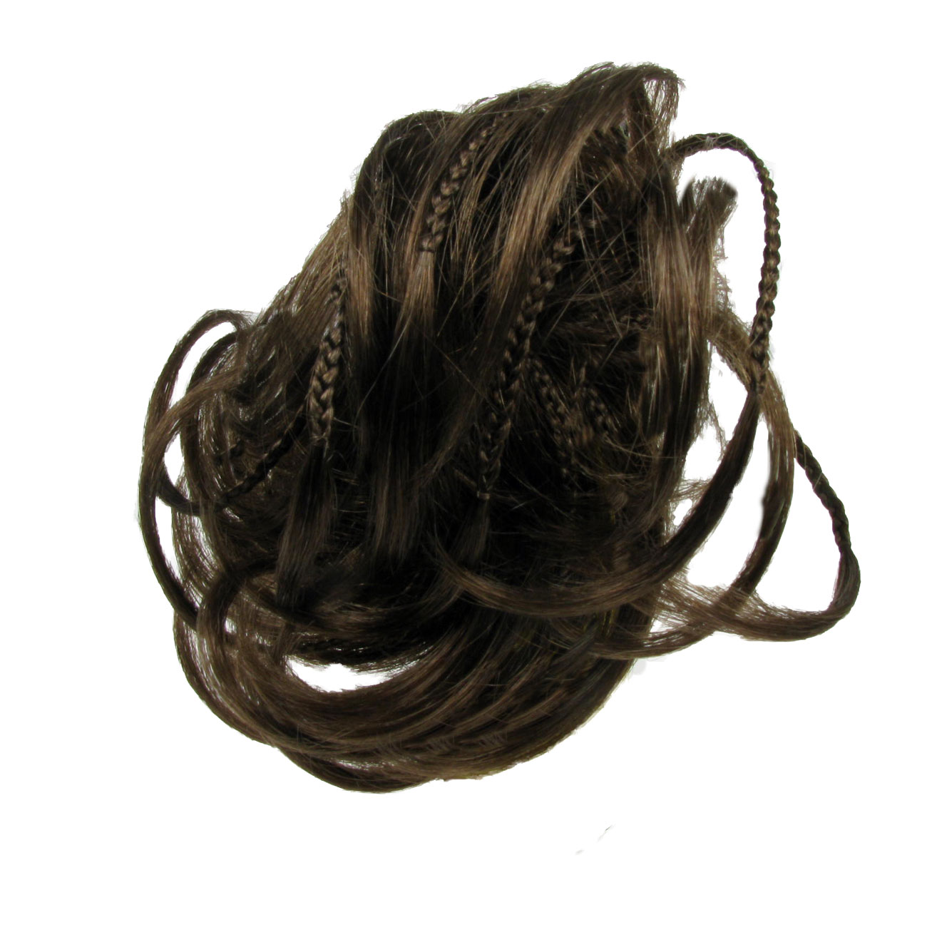Elasticated Band Hair Piece Extensions - Golden Brown Plaited Bun Scrunchie Enlarged Preview
