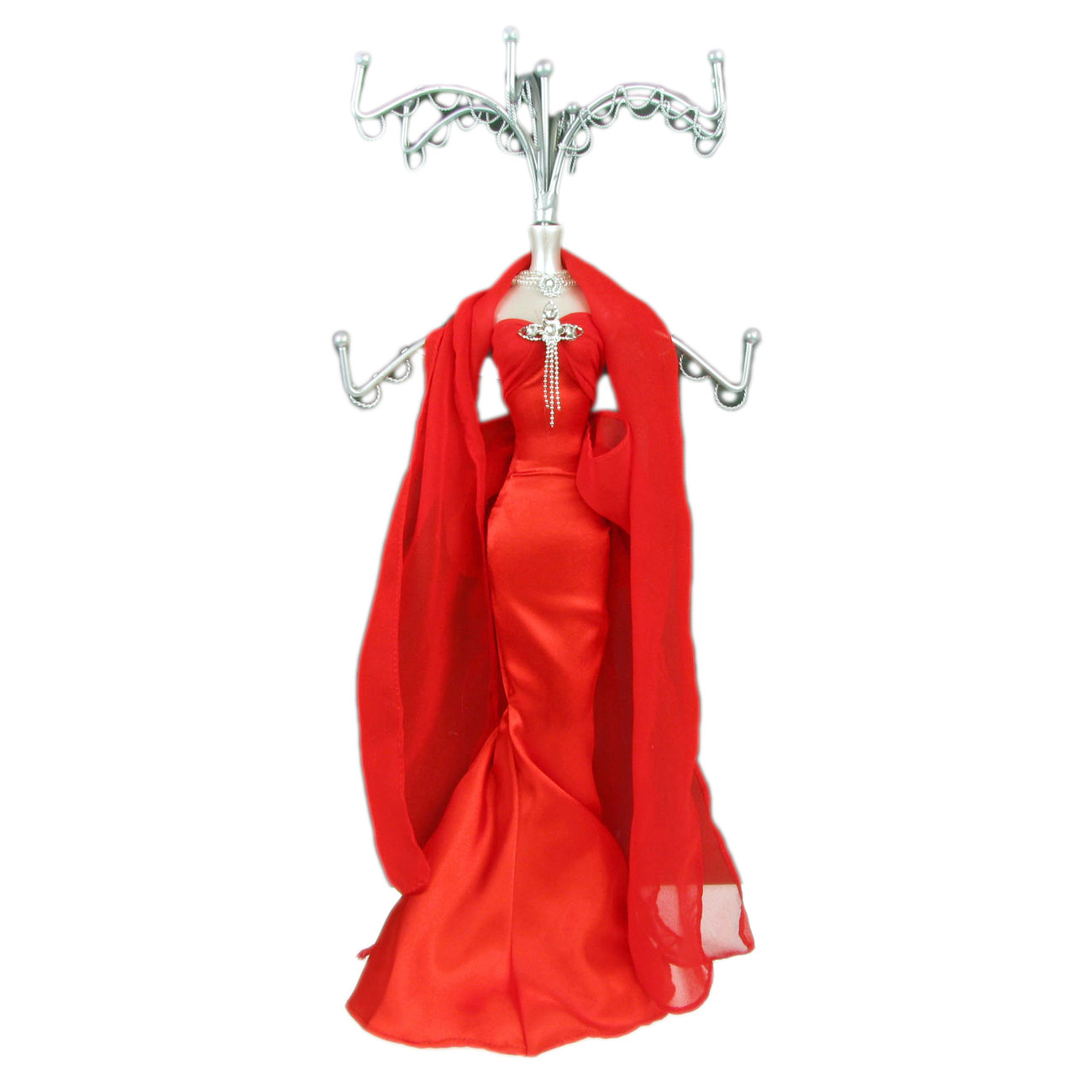 Mannequin Jewellery Stand / Tree Display Necklace Holder with Lady in Red Dress Enlarged Preview