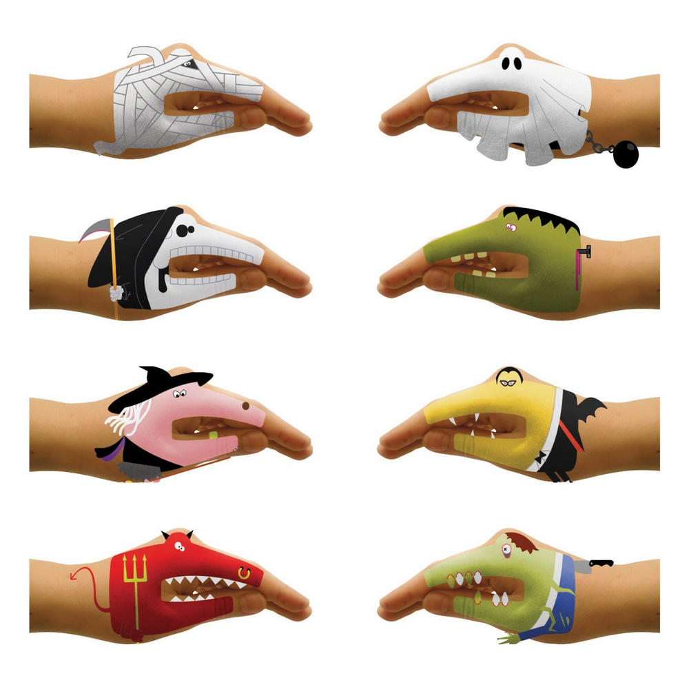 Kids temporary tattoo stickers scary hands childrens party for Temporary tattoos kids