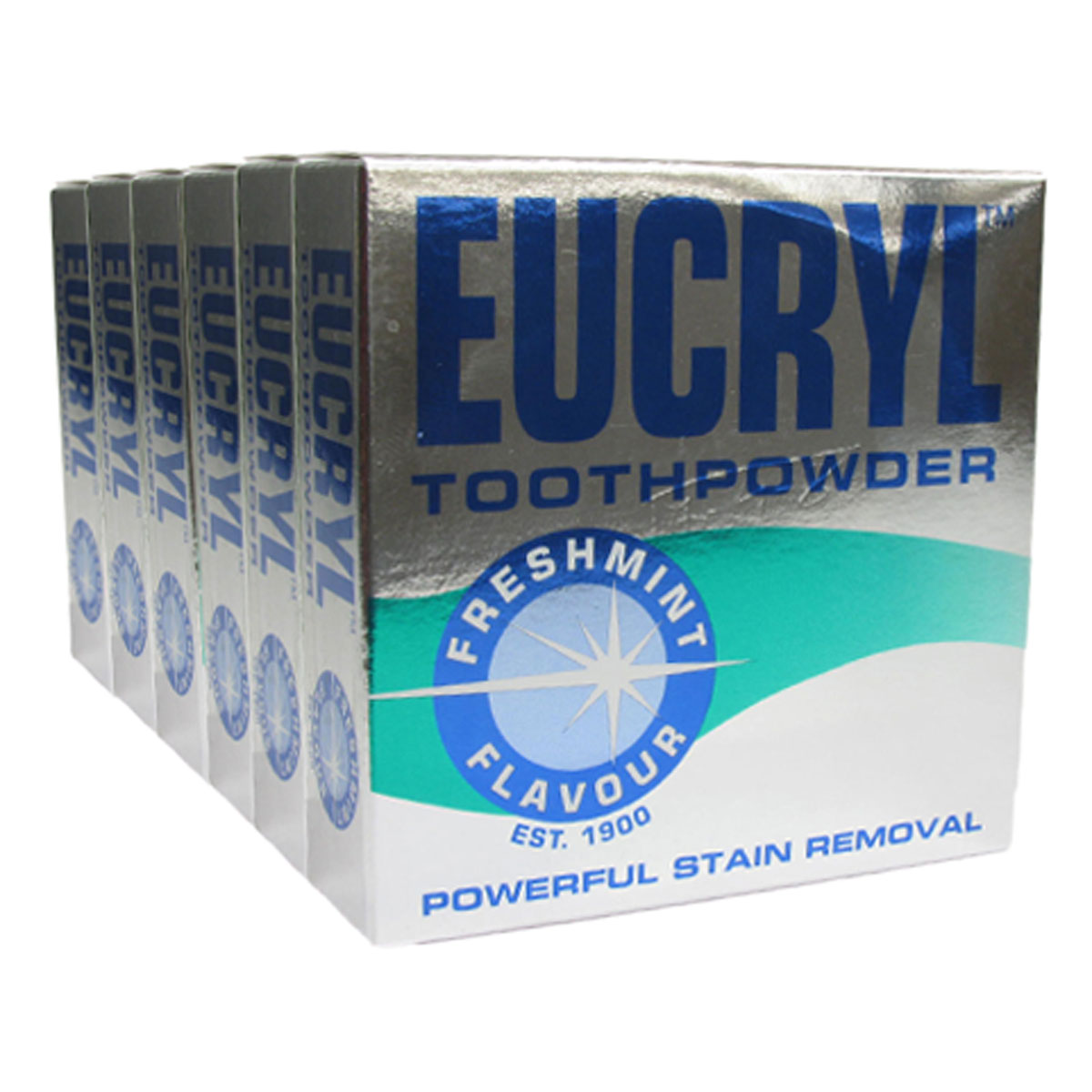 6 X Eucryl Smokers Tooth Powder Freshmint 50g Enlarged Preview