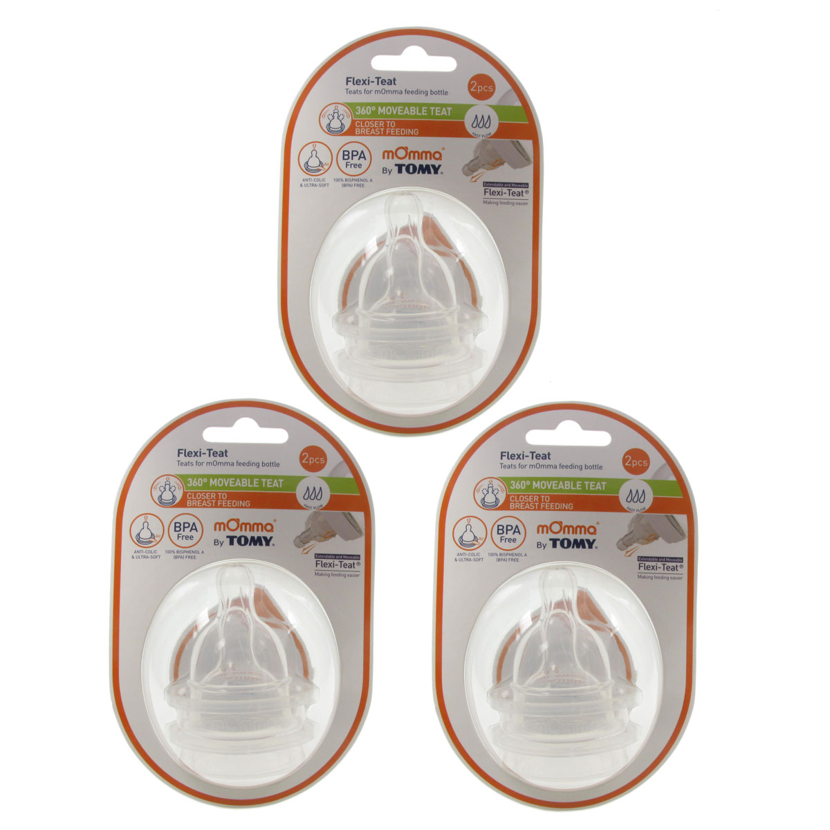 3 x Tomy mOmma FLEXI-TEAT (Moveable Teat) FAST FLOW 2 Piece Pack BPA Free Baby Enlarged Preview